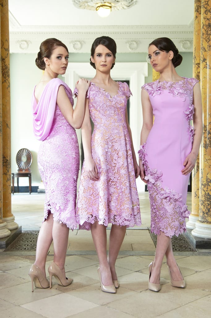 Three models wearing Phoenix V occasion wear.