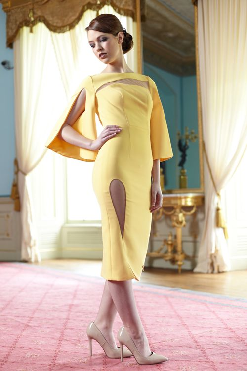 Model wearing Phoenix V Audrey pencil occasion dress, Dublin
