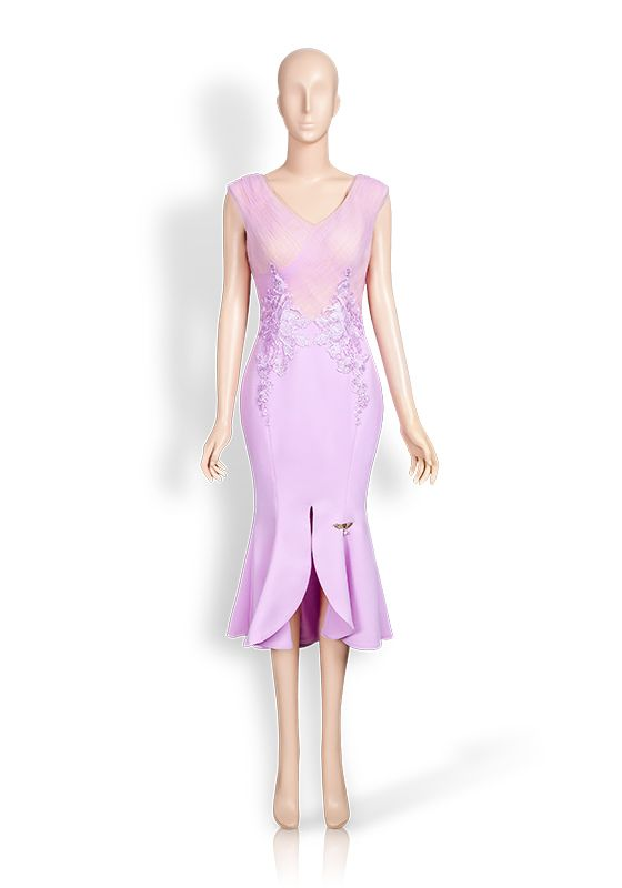Lilac split hem fishtail dress with lilac mesh drape top embroidered with lilac lace flowers