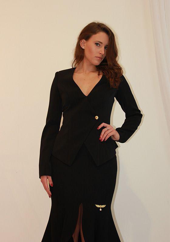 Model wearing Phoenix V Phoenix V Zo jacket occasion wear, Dublin