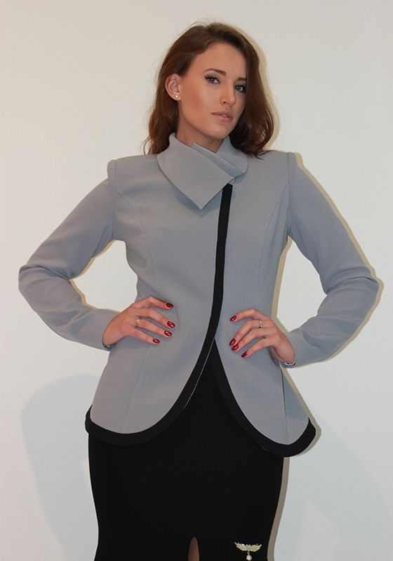 Grey high-necked jacket with black piping