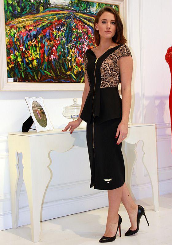 Model wearing Phoenix V Gwen pencil occasion dress, Dublin
