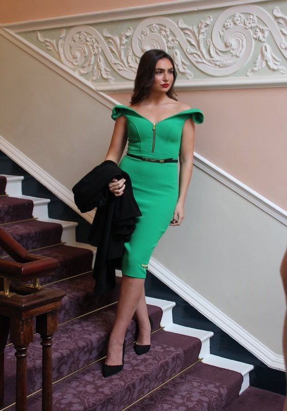 Model wearing Phoenix V Jennifer pencil occasion dress, Dublin