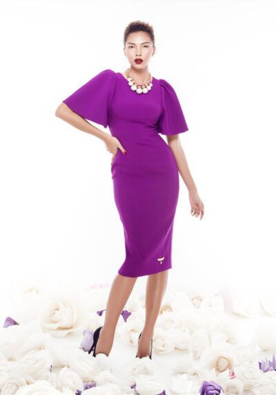 Magenta pencil dress with puffy bell sleeves