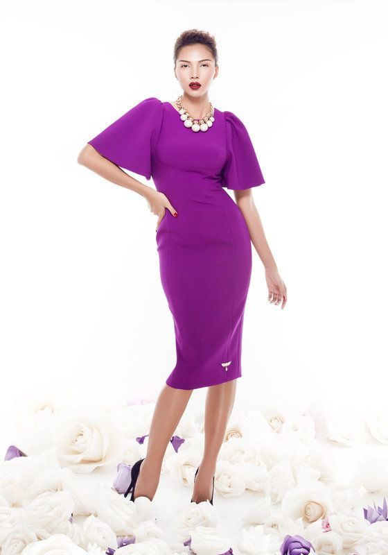 Model wearing Phoenix V Faith pencil occasion dress, Dublin