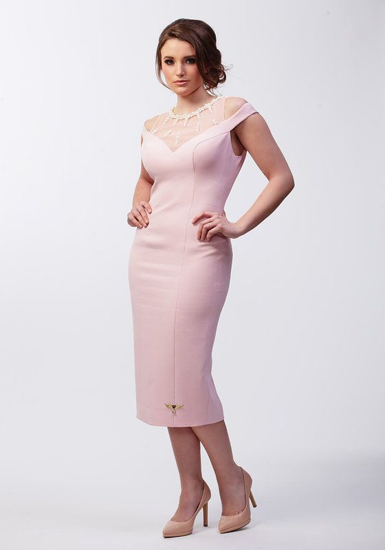 Pale pink pencil dress with v neck and mesh and pearl neck detailing