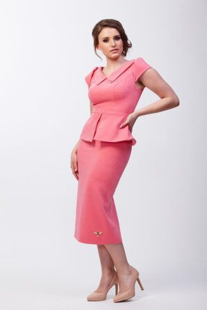 Bubblegum pink peplum pencil dress with collar and cap sleeve
