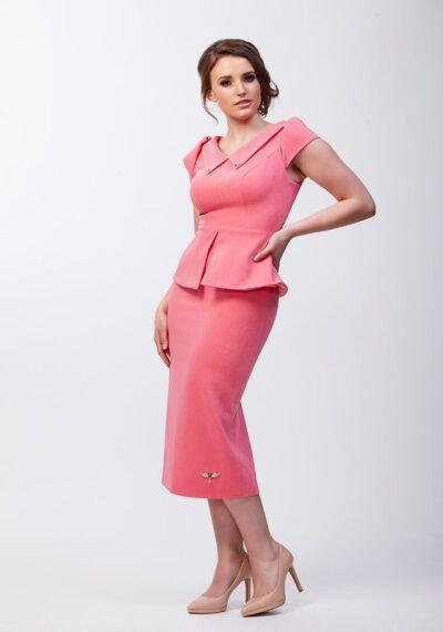 Bubblegum pink peplum pencil dress with collar and cap sleeve