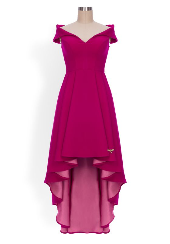 Magenta bardot a-line gown with high low hem