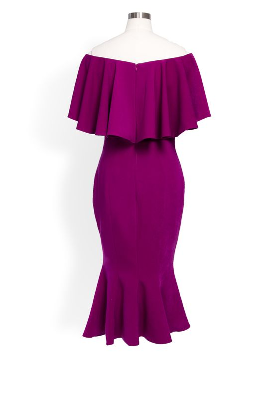 Phoenix V Farrah fishtail occasion dress, rear view
