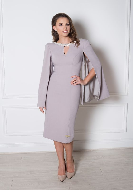 Grey pencil dress with pearl neckline, v cutout and cape sleeve