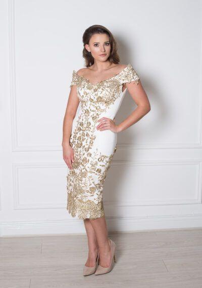 Ivory gold lace bardot pencil dress