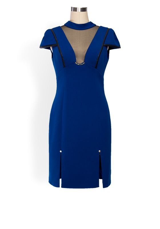 Phoenix_V Ciars Dress - Cobalt blue mini dress with black mesh v neckline and black leather details. Two short slits at the front and a gorgeous semi-drop back with a neck tie draping detail.
