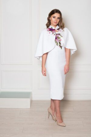 Ial white embroidered bardot pencil dress with Iallie white embroidered cape
