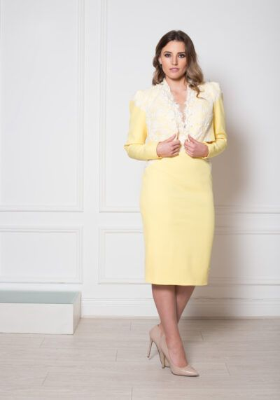 Model wearing Phoenix V Zivah jacket occasion wear, Dublin