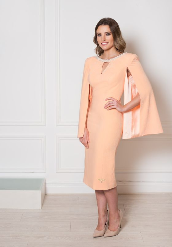 Peach cape sleeve pencil dress with V cutout and pearl neckline