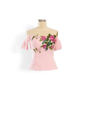 Pale pink embroidered bardot Au top