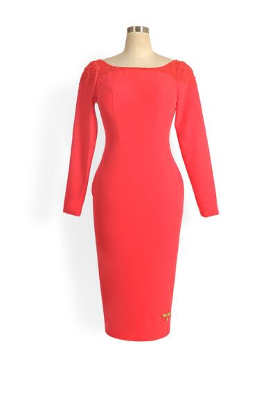 Coral low back long sleeved beaded pencil dress