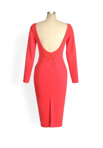 Phoenix V Quin pencil occasion dress, rear view