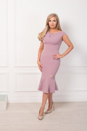 Mauve sleeveless fishtail dress with neck bow detail