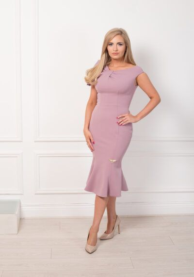 Model wearing Phoenix V Oriel fishtail occasion dress, Dublin