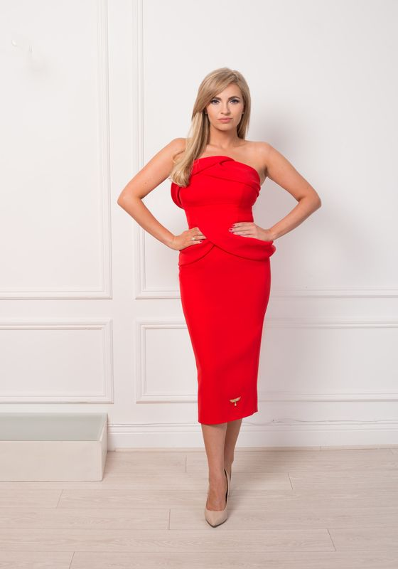 Model wearing Phoenix V Demetria pencil occasion dress, Dublin