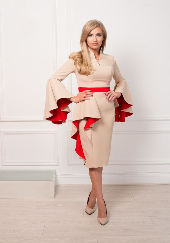 Taupe pencil dress with red visible lining, peplum and waterfall sleeves