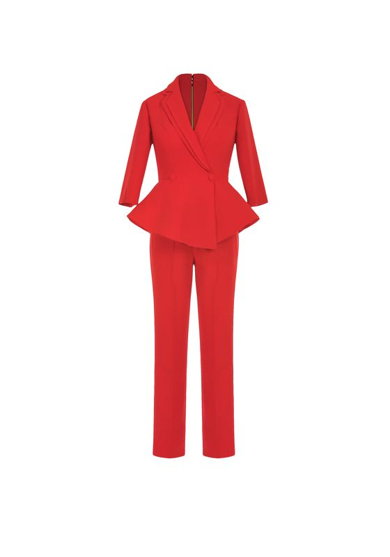 Bright red peplum trouser suit