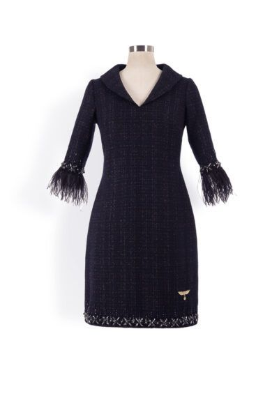 Navy tweed mini shift dress with v-neck, collar and jewel and feather trim