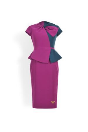 Magenta and teal pencil dress with peplum and bow detail