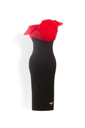 Black pencil dress with red organza rose and bardot neckline