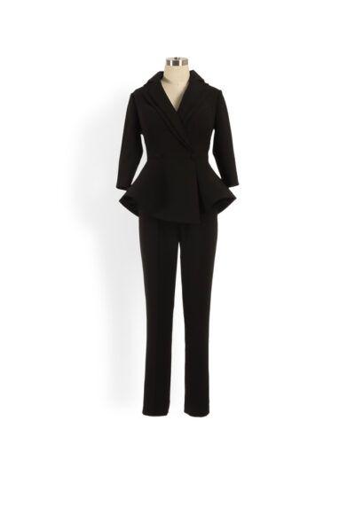 Black long sleeved peplum suit with straight leg trouser