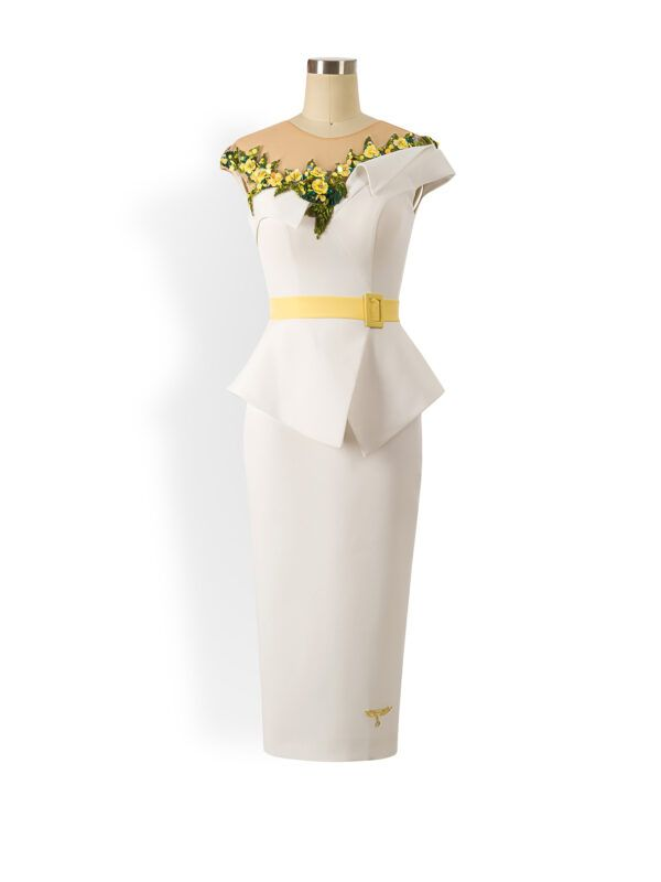 White and yellow embellished belted peplum pencil dress