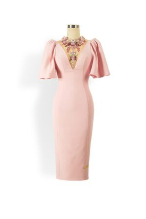 Pale pink pencil dress with oversized puff sleeve and jewel embellished mesh neck and back
