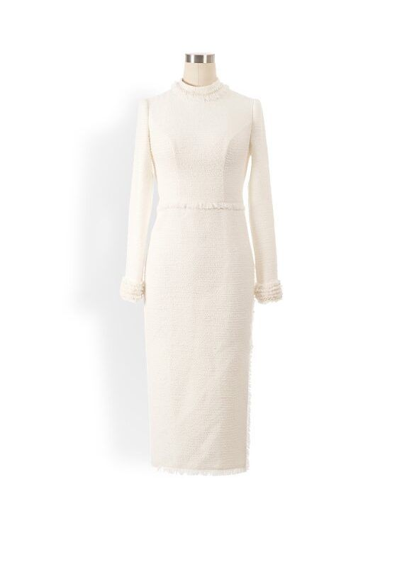 Ivory tweed high neck pencil dress with pearl embellishment