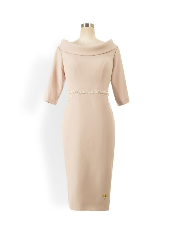 Taupe cowl neck pencil dress with ivory pearl embellished waist