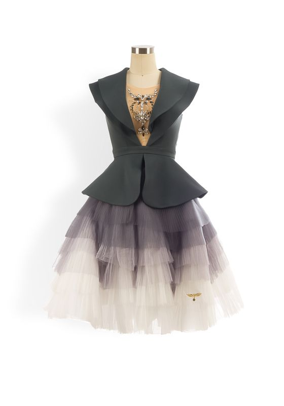Grey double collar embellished mesh plunge panel peplum ombre tiered tulle tutu
