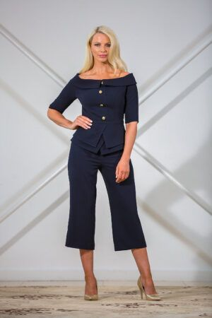 Navy bardot peplum culotte suit with gold buttons
