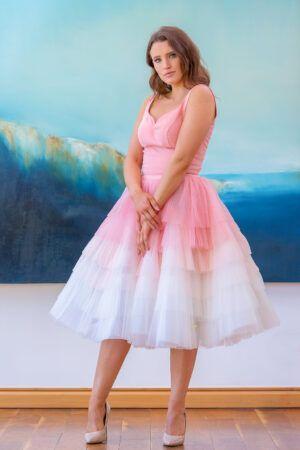 Model wearing Phoenix V Judie ALine occasion dress, Dublin