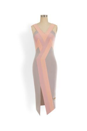 Peach, grey and dusty pink geometric line pencil dress with slit and edgy back cutout detail