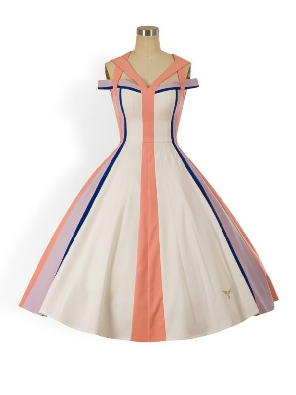 White panelled bardot a-line dress with cutout straps and peach, lilac and cobalt blue statement panels