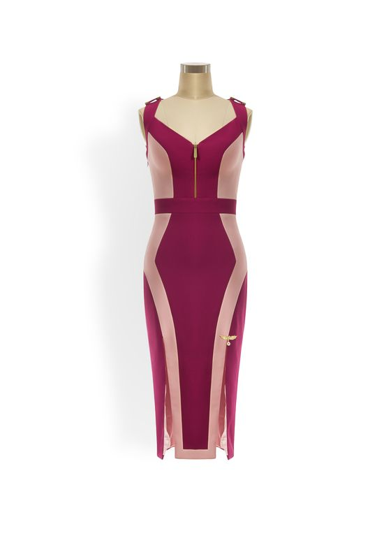 Ava two-tone geometric panelled pencil dress with zips, slits and criss-cross detailing