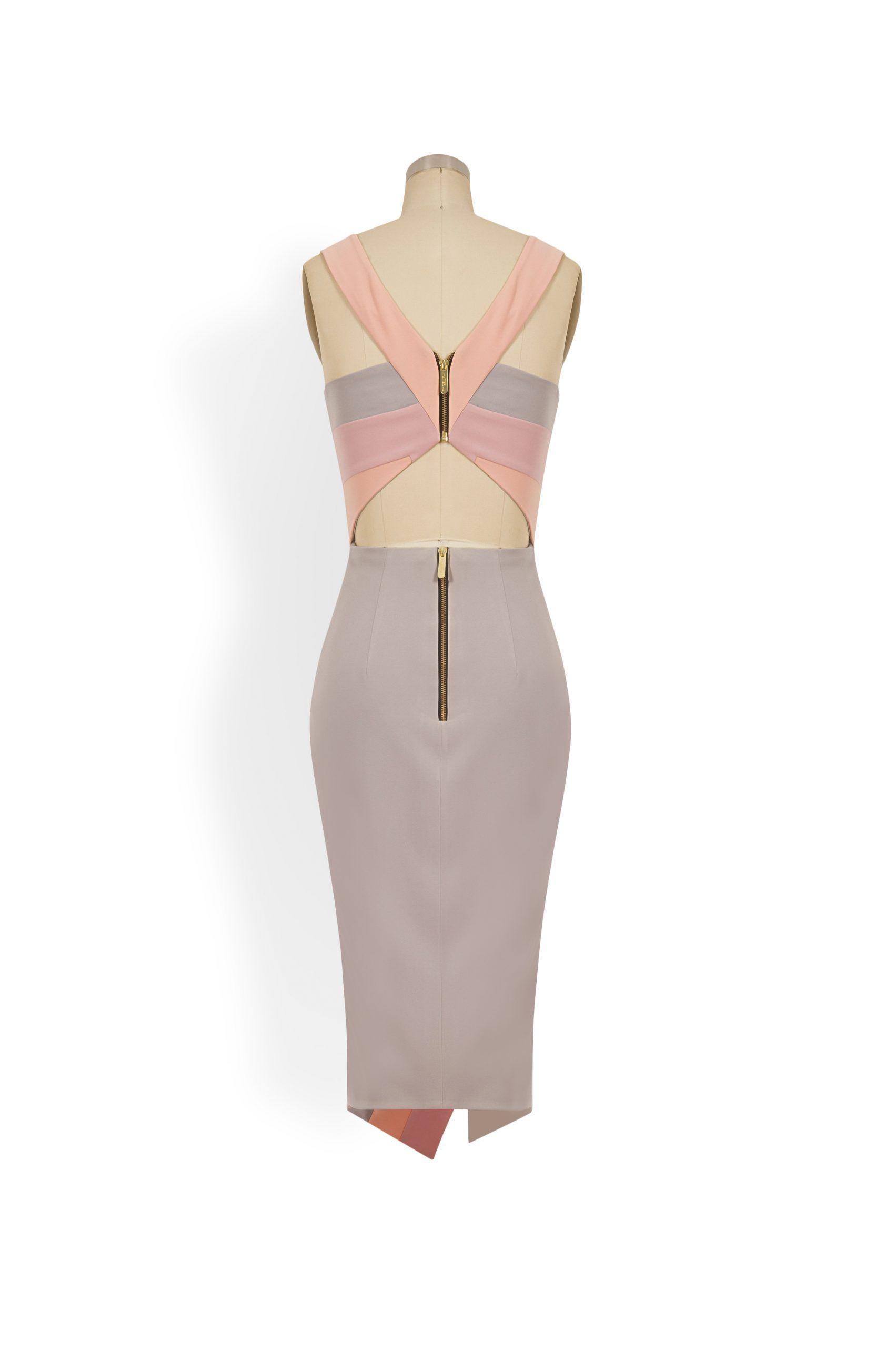 Phoenix V Kaati pencil occasion dress, rear view