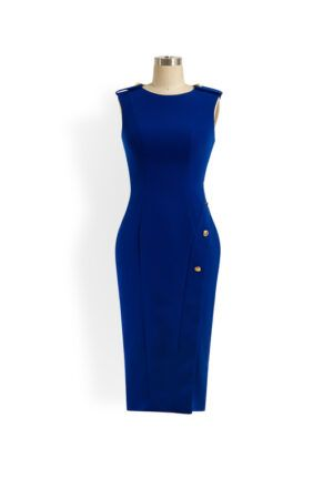 Cobalt blue sleeveless pencil dress with gold button detail and slit