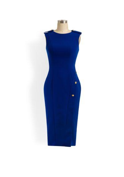 Cobalt blue sleeveless pencil dress with gold button detail and slit