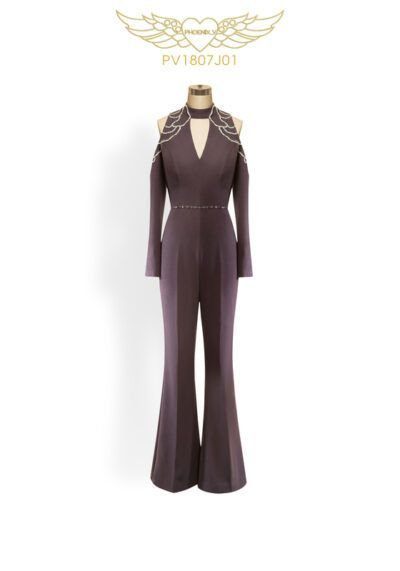 Charcoal beaded wide-leg jumpsuit with long sleeves and cutouts at the neck and shoulder