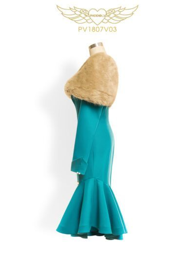 Phoenix V Joann fishtail occasion dress, side view