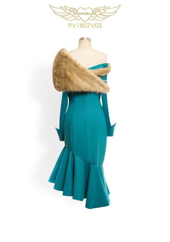Phoenix V Joann fishtail occasion dress, rear view