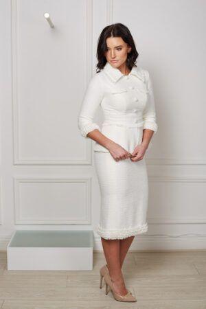 Model wearing Phoenix V Helen pencil occasion dress, Dublin