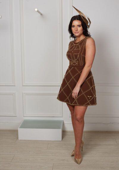 Model wearing Melissa ALine occasion dress, Dublin